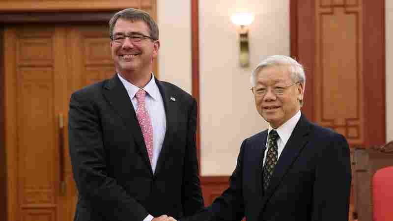 U.S. Secretary of Defense Ash Carter shakes hands with Vietnam's General Secretary Nguyen Phu Trong at the Presidential Palace in Hanoi, Vietnam, on June 1. Trong will meet with President Obama in the White House on Tuesday.