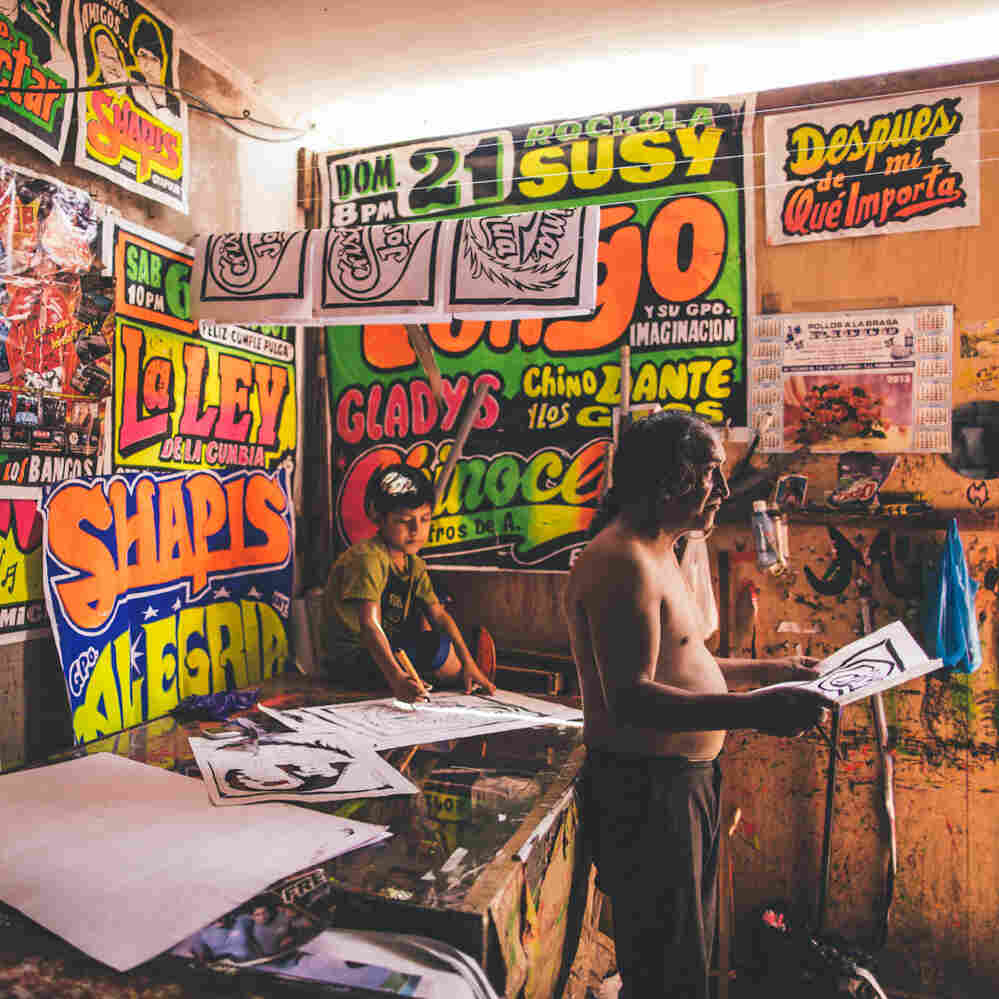 """""""Monky"""" silk screens posters for some of Peru's top chicha bands."""