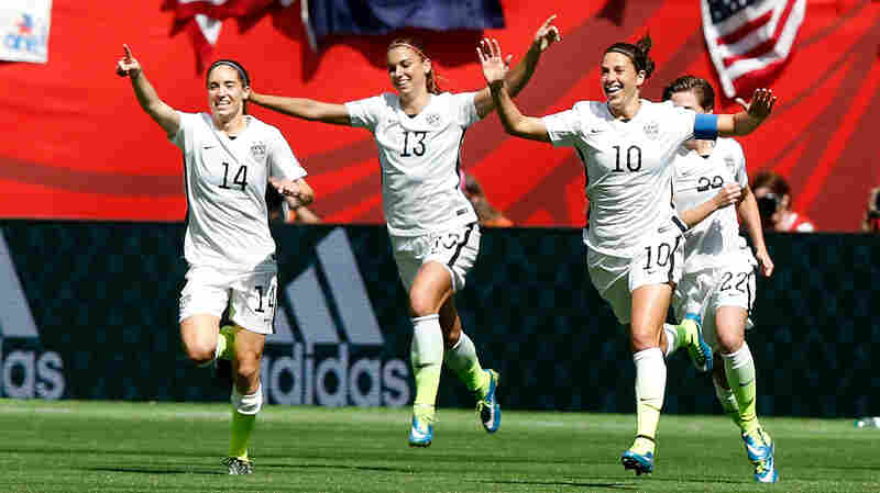 Sunday's FIFA Women's World Cup final drew record U.S. TV ratings that are similar to the decisive Game 6 of last month's NBA Finals. Here, Carli Lloyd, No. 10, celebrates the second U.S. goal with teammates.