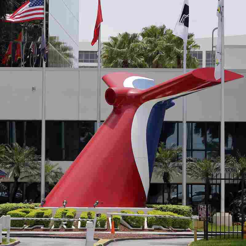 Carnival Cruise Lines' main entrance of their office building in Miami. Carnival says it would become the first American cruise company to visit the Caribbean island nation since the 1960 trade embargo.