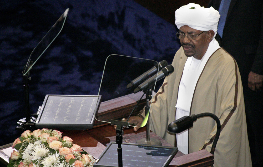 Sudan's President Omar al-Bashir, seen here at the Sudanese National Assembly in Khartoum on June 2, was re-elected in a landslide that extended his 25-year rule. Bashir, who took power in a 1989 coup, is the only sitting head of state facing genocide charges at the International Criminal Court.