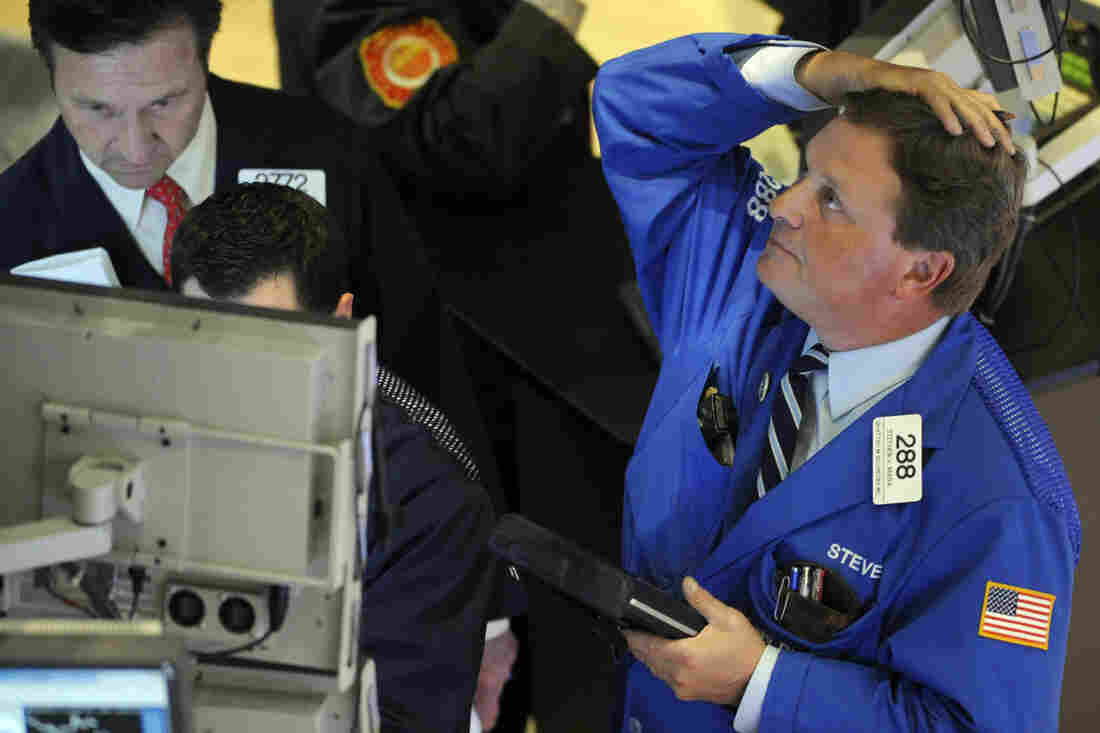 """Stephen Mara of Quattro M Securities works on the floor of the New York Stock Exchange on May 6, 2010, the day of the infamous """"flash crash"""" that wiped about 600 points from the Dow Jones industrial average in minutes."""