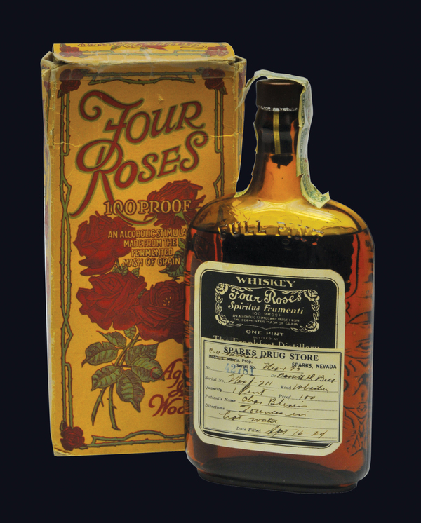During Prohibition, whiskey could legally be sold as medicine. This particular bottle of Four Roses bourbon was prescribed to a patient in Sparks, Nev., in 1924. The label tells patients to mix 2 ounces of whiskey with hot water. From The Art of American Whiskey by Noah Rothbaum.