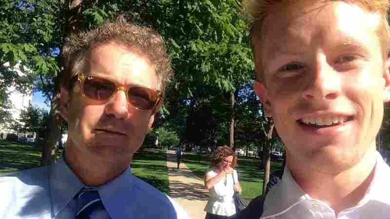 """We asked NPR listeners to send in their selfies with the 2016 candidates and around 50 people did. Gray Barrett (right) took this selfie with Rand Paul in Washington, D.C., this summer. """"Though I'm not a Rand Paul supporter, I couldn't pass up this opportunity!"""" he said."""