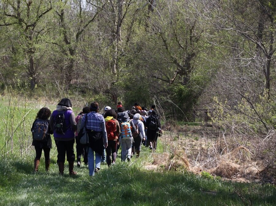 Members Of Outdoor Afro Hiking In West Virginia