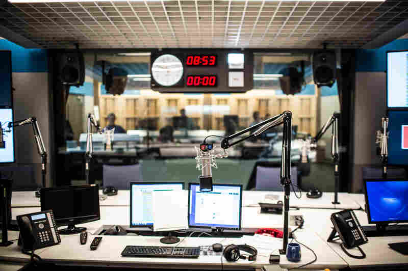 Studio 31, the home for Morning Edition, All Things Considered and Weekend Edition, from the view of the host and looking into the control room.
