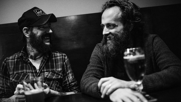 Ben Bridwell of Band of Horses and Sam Beam of Iron & Wine team up on Sing Into My Mouth, a new album of covers. (Courtesy of the artist )