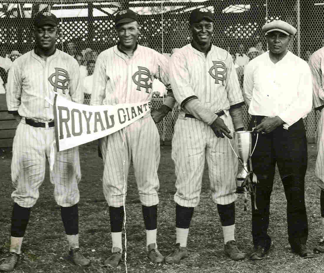 On the recommendation of Kenichi Zenimura, manager Lonnie Goodwin (far right) took his ballclub on a tour of Asia in April 1927. Here, he's pictured with (from left) catcher O'Neal Pullen, pitcher Ajay Johnson and shortstop Biz Mackey.