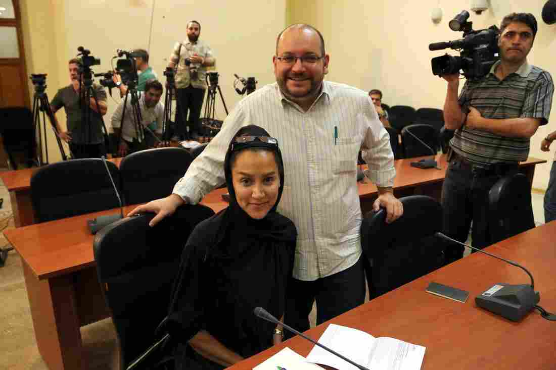 The Washington Post's Jason Rezaian and his wife, Yeganeh Salehi, during a news conference in Tehran, Iran, on Sept. 10, 2013. They were arrested in July 2014. Salehi has since been freed. Rezaian had his third court hearing Monday.