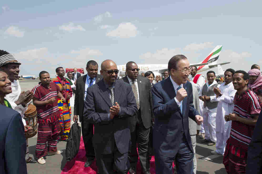 Secretary-General Ban Ki-moon (right, with blue necktie) arrives in Addis Ababa, Ethiopia, for the International Conference on Financing for Development.