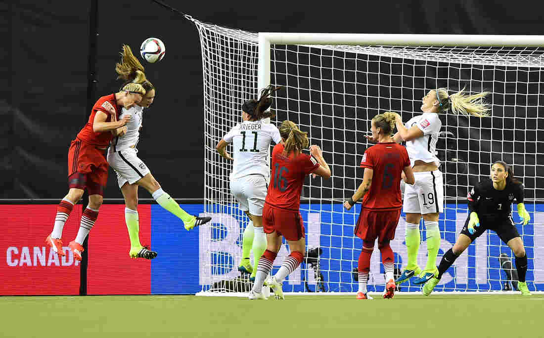 Germany's Alexandra Popp and the U.S.'s Morgan Brian collide during a World Cup semifinal in June. Both were injured, but continued to play.
