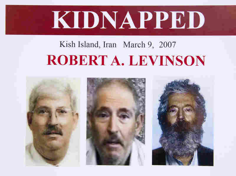 An FBI poster showing a composite image of former FBI agent Robert Levinson.