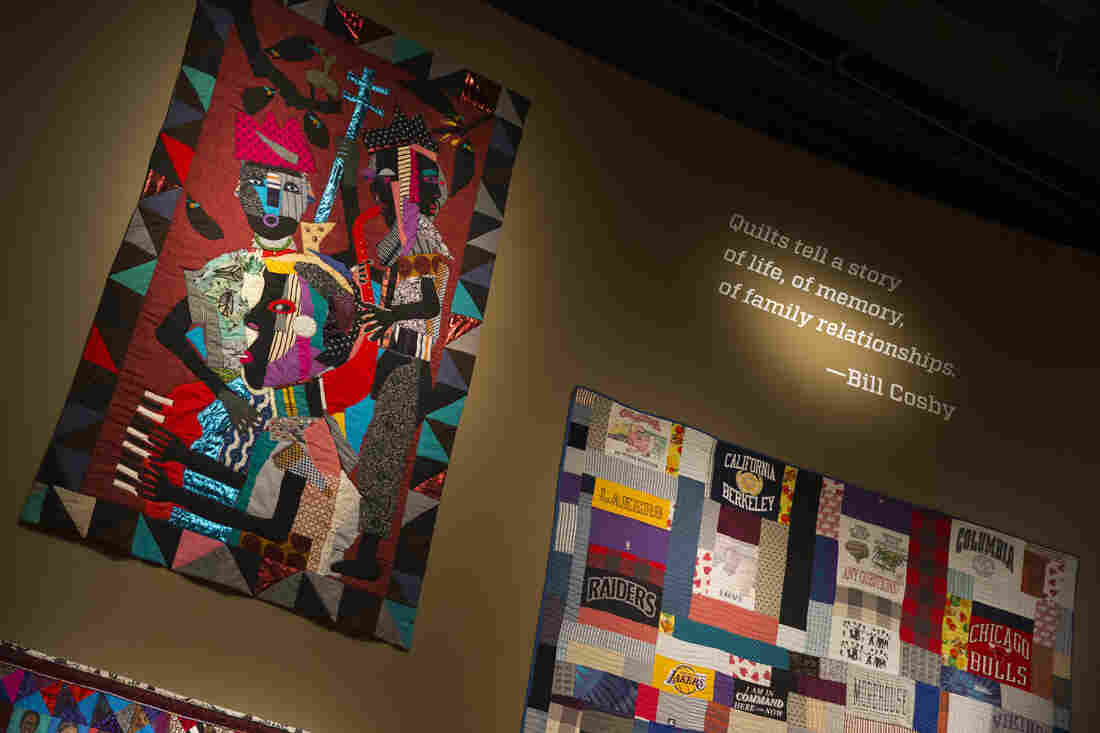 Quilts from the Bill and Camille Cosby collection hang at the Smithsonian's National Museum of African Art in Washington, D.C., in this Nov. 6, 2014, photo.