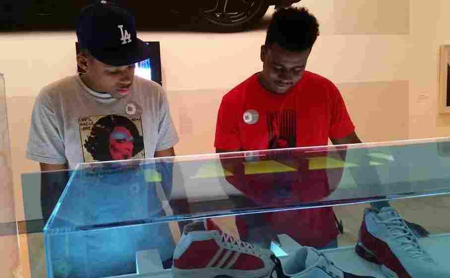 Ritchy Issac (left) and Myles Linton (right) consider themselves part of sneaker culture, the subject of an exhibit now on display at the Brooklyn Museum.