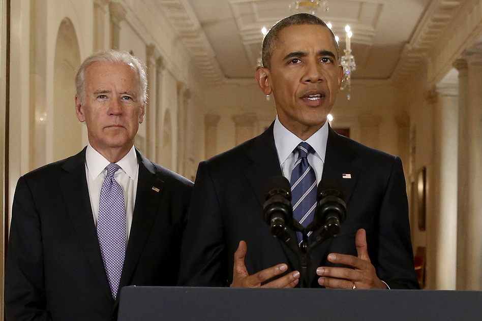 President Obama, standing with Vice President Joe Biden, delivers a statement about the nuclear deal reached between Iran and six major world powers during an address from the White House on Tuesday. (Reuters/Landov)