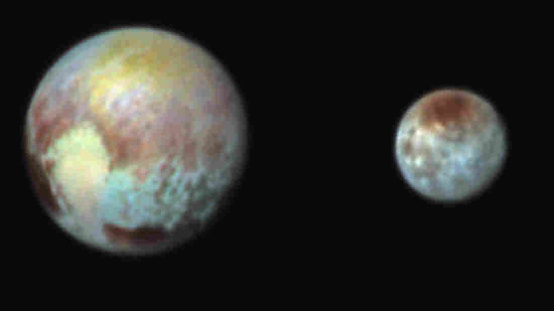New false-color images of Pluto and the moon Charon exaggerate colors to highlight differences in their surface compositions, NASA says.
