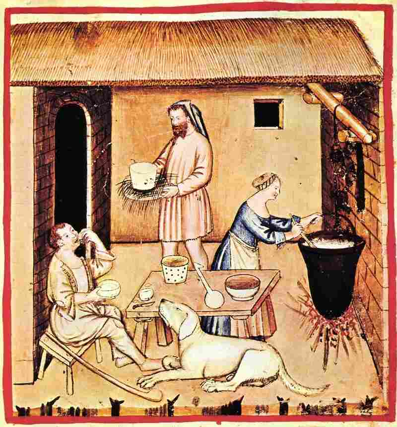 A depiction of meal with cheese from Tacuinum Sanitatis, a medieval handbook on health and well-being based on the Taqwim al‑sihha, an 11th-century Arab medical treatise.