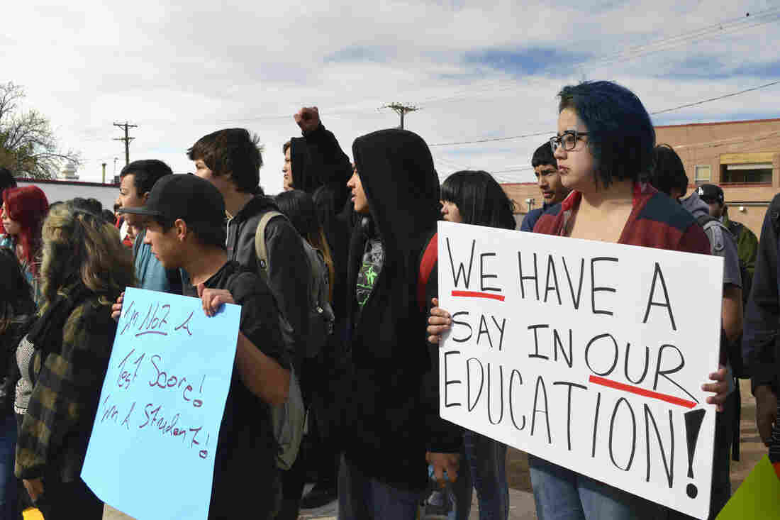 New Mexico: Dolores Ramos (right), 16, joins dozens of Highland High School students in Albuquerque, N.M., during a walkout to protest a new standardized test.