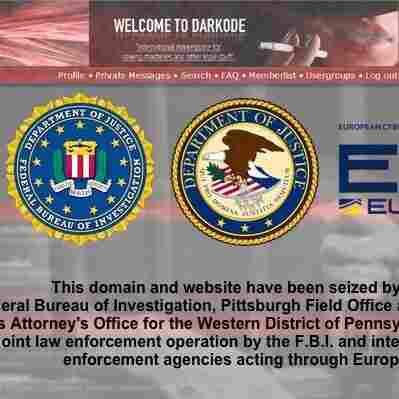 The Darkode malware forum was replaced by an image announcing its seizure by authorities Wednesday.