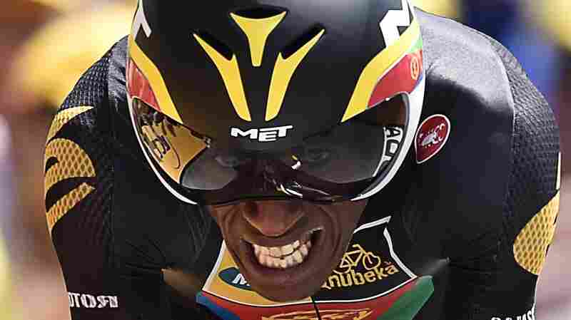Eritrea's Daniel Teklehaimanot competes in a 13.8 km individual time trial, the first stage of the 102nd edition of the Tour de France cycling race, on July 4 in Utrecht, The Netherlands.