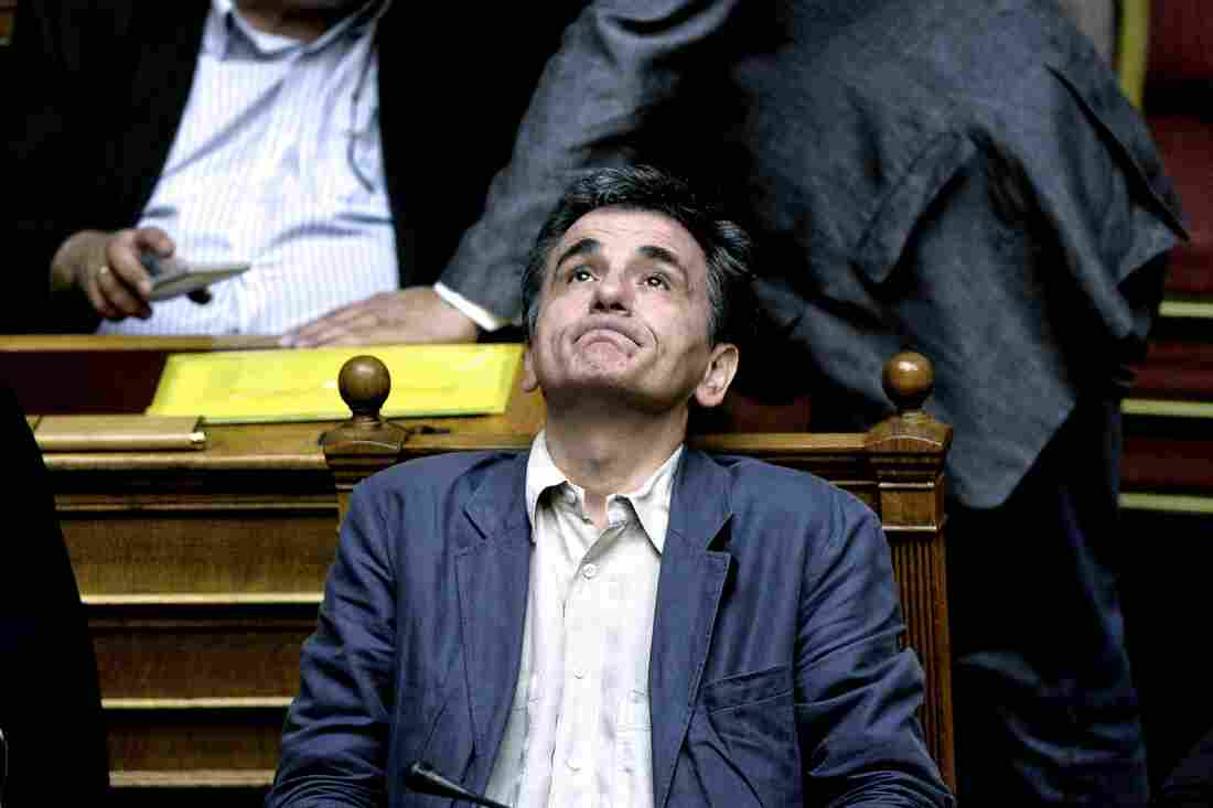 Greek Finance Minister Euclid Tsakalotos attends a session of Parliament in Athens, on Wednesday.