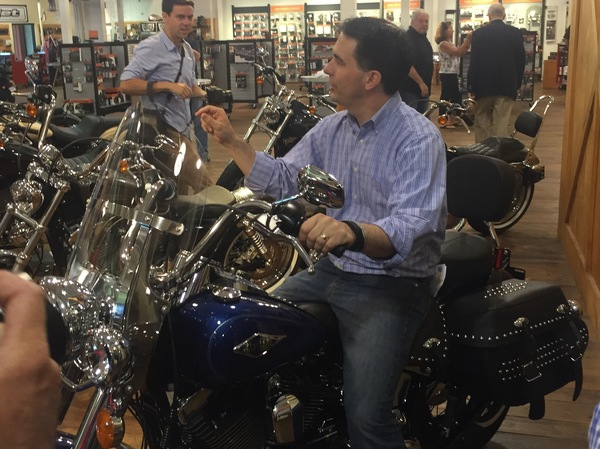 Wisconsin Gov. Scott Walker was in his element while campaigning at a Harley-Davidson dealership in North Charleston, S.C., on Wednesday.