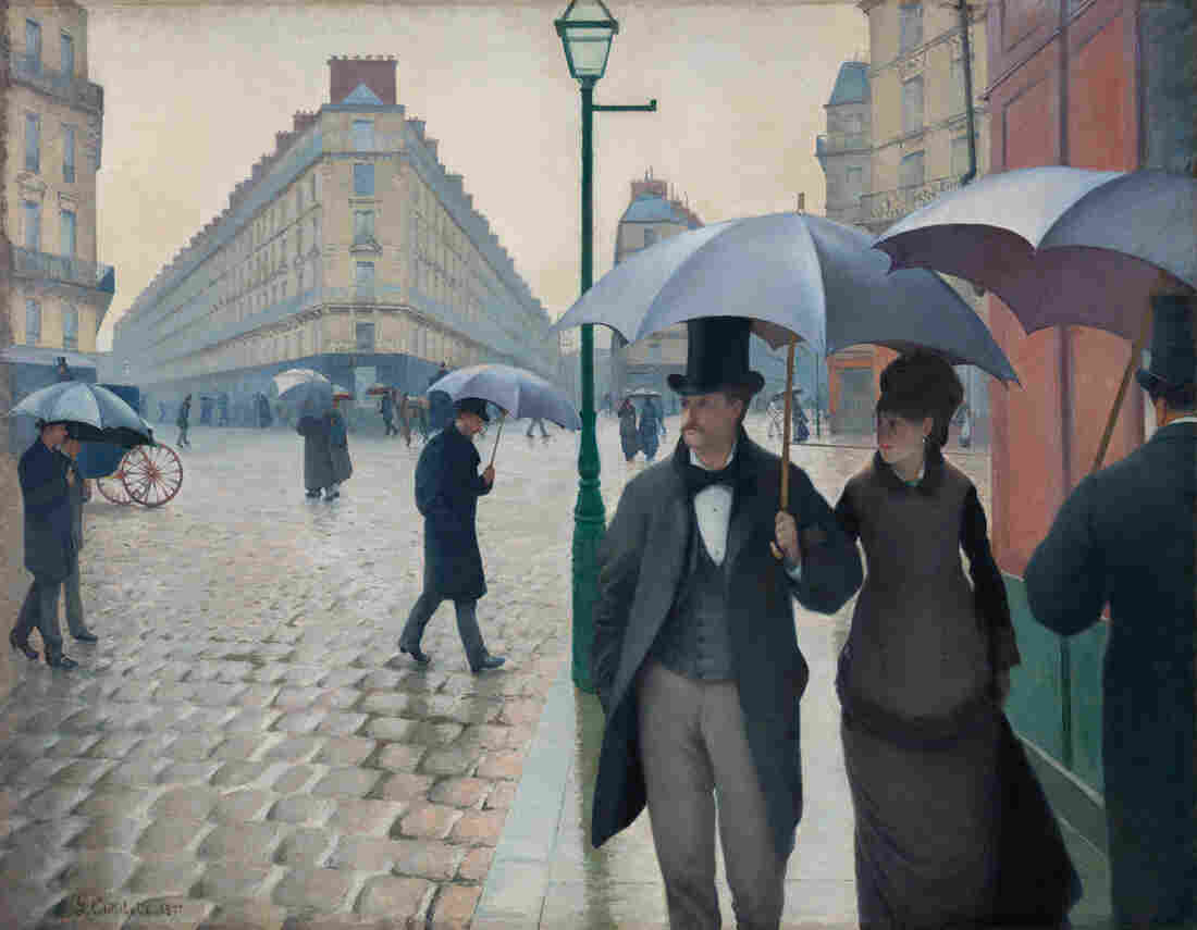 Caillebotte puts you right on the sidewalk in Paris Street, Rainy Day, 1877.