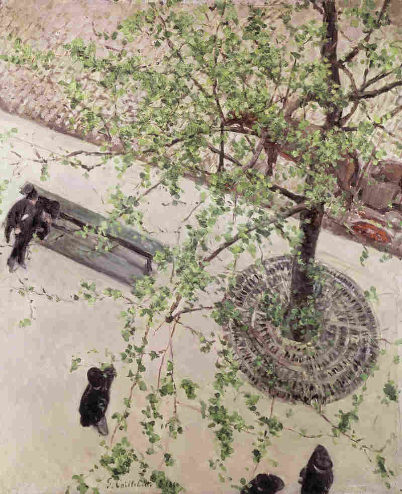 Caillebotte looks on the Paris streets below in The Boulevard Seen from Above, 1880.