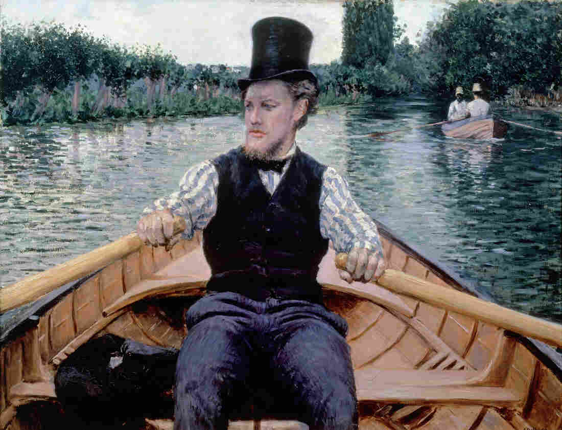 We're passengers in a boat in Caillebotte's 1877-78 Boating Party.