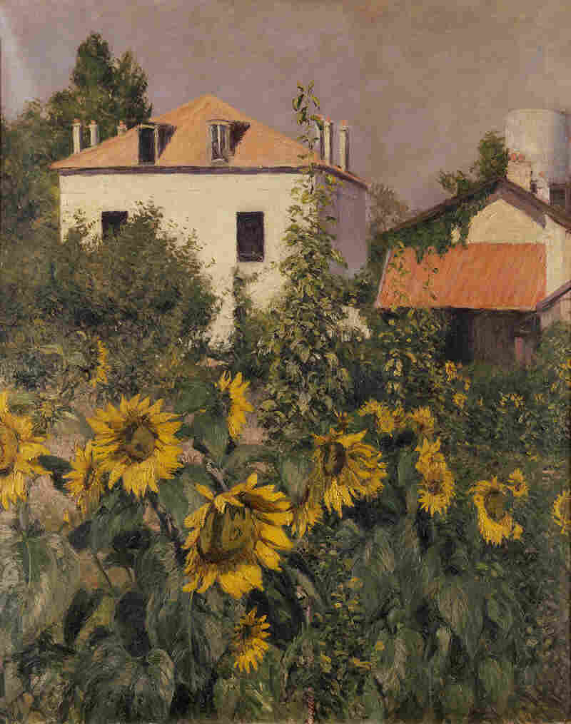 Caillebotte shows a cheerful scene in his 1885 oil on canvas, Sunflowers, Garden at Petit Gennevilliers.