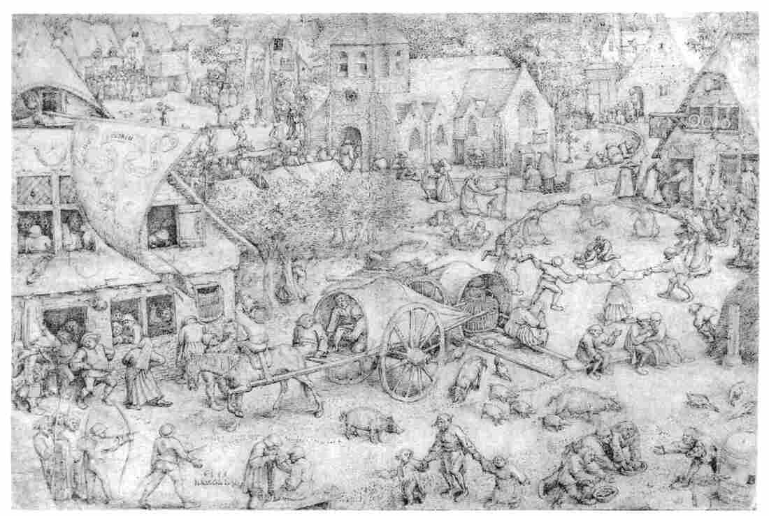 "As Europe's forests were felled to grow crops, pigs took up residence in towns, as in this 1559 sketch ""Fair at Hoboken"" by Breugel the Elder. The pig's scavenging habits — which included the occasional human corpse — was one factor in a decline in the reputation of pigs and pork in the late Middle Ages."