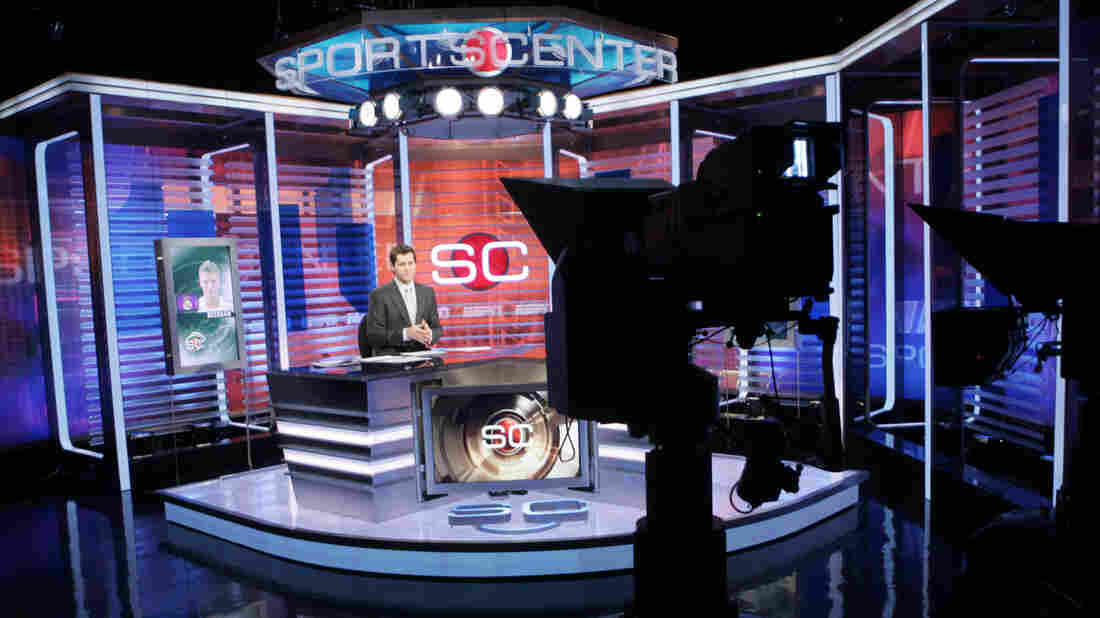 Ryan Phelan rehearses on the set of SportsCenter at ESPN's headquarters in Bristol, Conn., in 2007. Years ago, the network had been thought impervious to the seismic shifts shaking the cable landscape. Now, that appears to be changing.