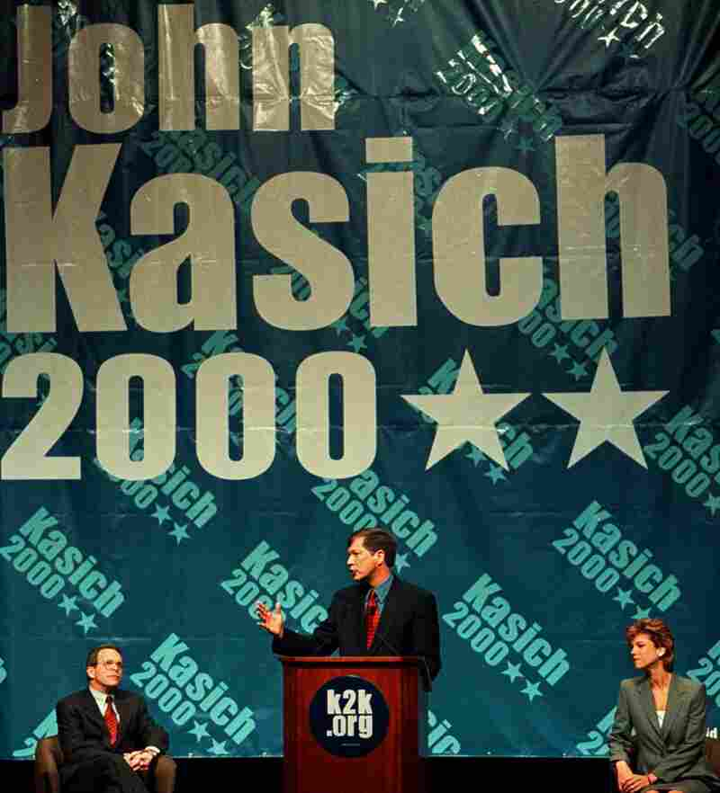 Then-House Budget Committee Chairman John Kasich made a brief run for president in the 2000 GOP primary before ending his campaign and endorsing George W. Bush in July 1999.
