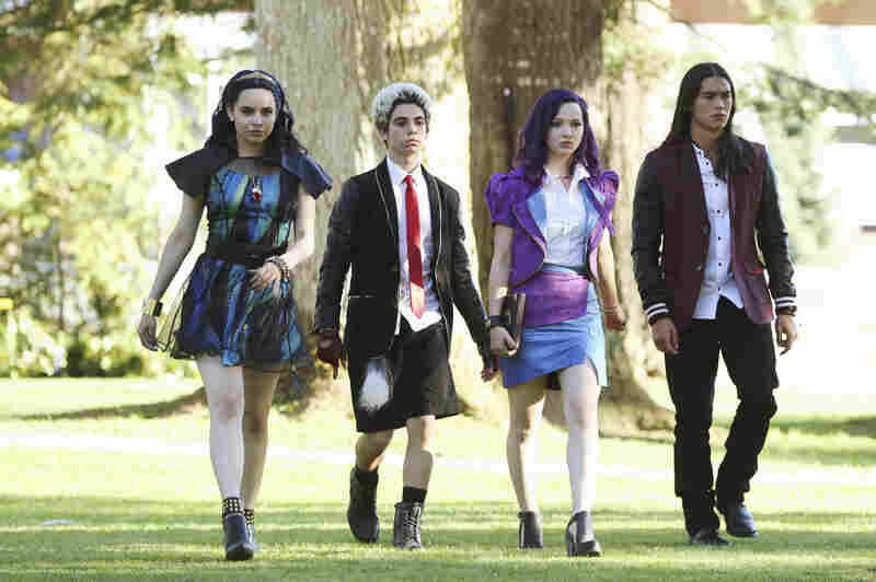 Sofia Carson (from left), Cameron Boyce, Dove Cameron and Booboo Stewart star as the next generation of Disney villains in Descendants.