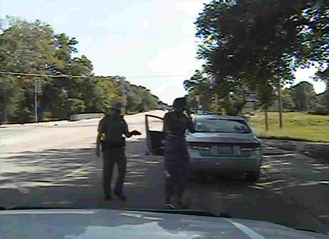In this July 10 frame from dashcam video provided by the Texas Department of Public Safety, trooper Brian Encinia arrests Sandra Bland.