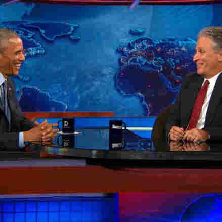President Obama appeared with Jon Stewart on The Daily Show on Tuesday night. It was Obama's seventh appearance, and his last before Stewart leaves the show next month.