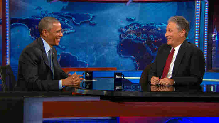 Obama And Stewart Have One Last Dance On 'The Daily Show'