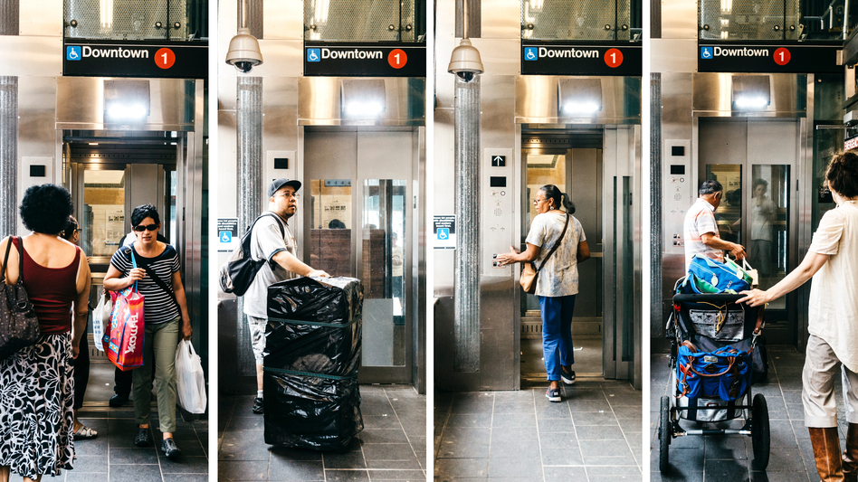 """This elevator is a gift from the disability community and the ADA to the nondisabled people of New York,"" says Attorney Wolinsky, who co-founded Disability Rights Advocates. The elevator at the Dyckman Street Subway Station in Inwood, Manhattan, helps people of all abilities reach the platform. (Michael Rubenstein for NPR)"