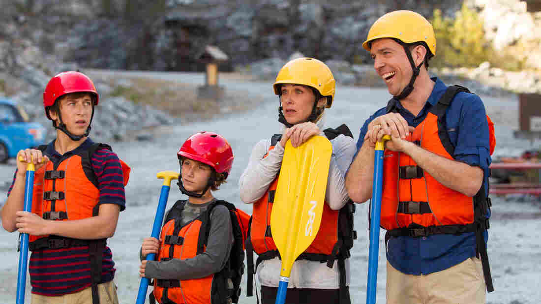 Skyler Gisondo (from left), Steele Stebbins, Christina Applegate and Ed Helms are the new Griswold family — en route to Walley World — in the 2015 follow-up to the 1983 movie Vacation.