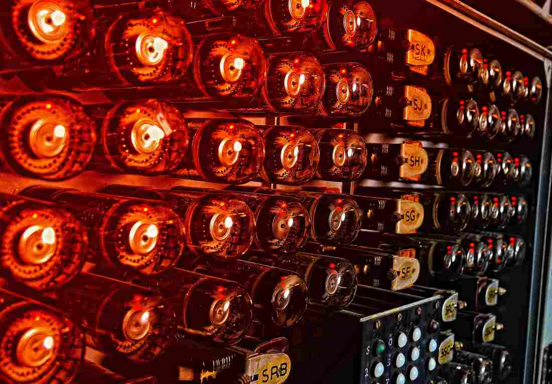 The Harwell Dekatron Computer in Bletchley Park is one of the massive machines used by Matt Parker in his Imitation Archive music.