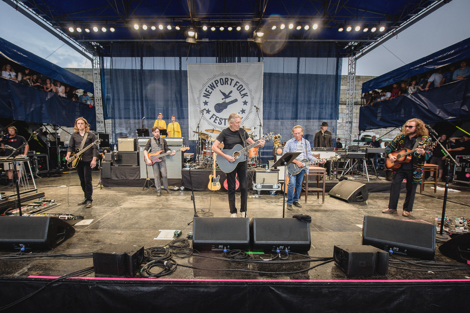 Roger Waters surprised the Newport Folk Festival by bringing out My Morning Jacket as his band for the evening. Lucius and Amy Helm (not pictured) also made guest appearances during the set. (Adam Kissick for NPR)