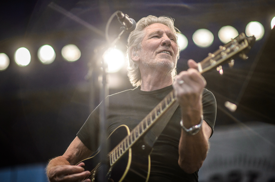 Roger Waters performs at the 2015 Newport Folk Festival. (Adam Kissick for NPR)