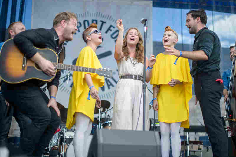 Jess Wolfe and Holly Laessig of Lucius joined The Lone Bellow on stage at the Newport Folk Festival.
