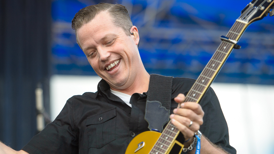 Jason Isbell smiles during a performance at the 2015 Newport Folk Festival. (Adam Kissick for NPR)