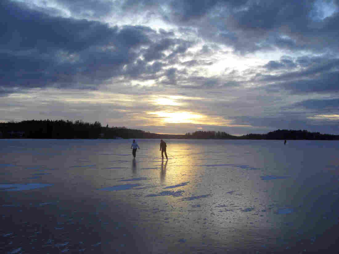 The sporting options in Finland are everywhere. Here, two people take advantage of the ice on Lake Hiidenvesi to get some exercise.