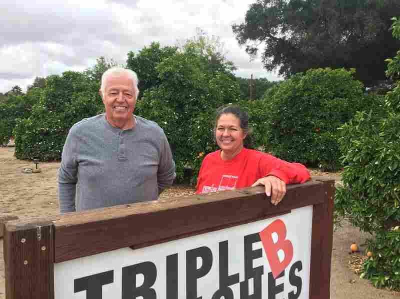 Gary Broomell and his daughter, Debbie, pose behind a sign on their ranch in San Diego County. Their family has been growing citrus for generations, but lately, it's been hard staying in the black growing oranges, so they started a vineyard a few years ago.