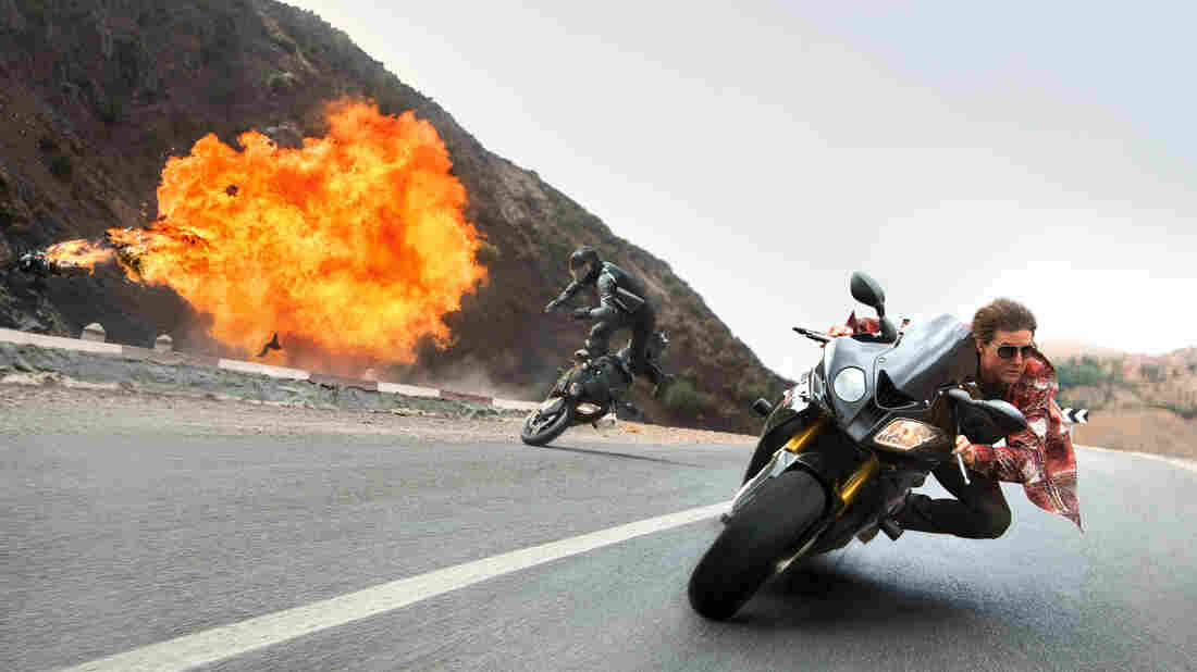 A spry 52 when the film was shot, Tom Cruise — still his own stuntman — careens a motorcycle, sans helmet, around a winding Moroccan highway at suicide-miles-per-hour.