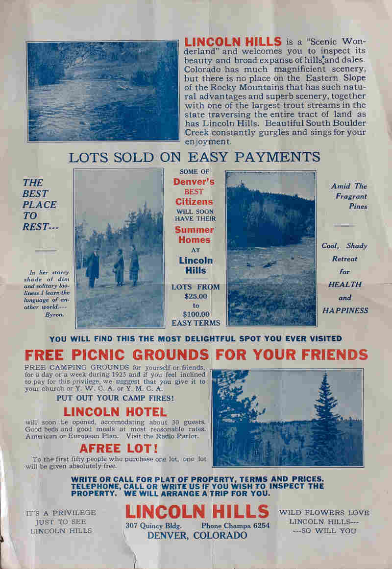 A flier advertising lots for sale at Lincoln Hills.