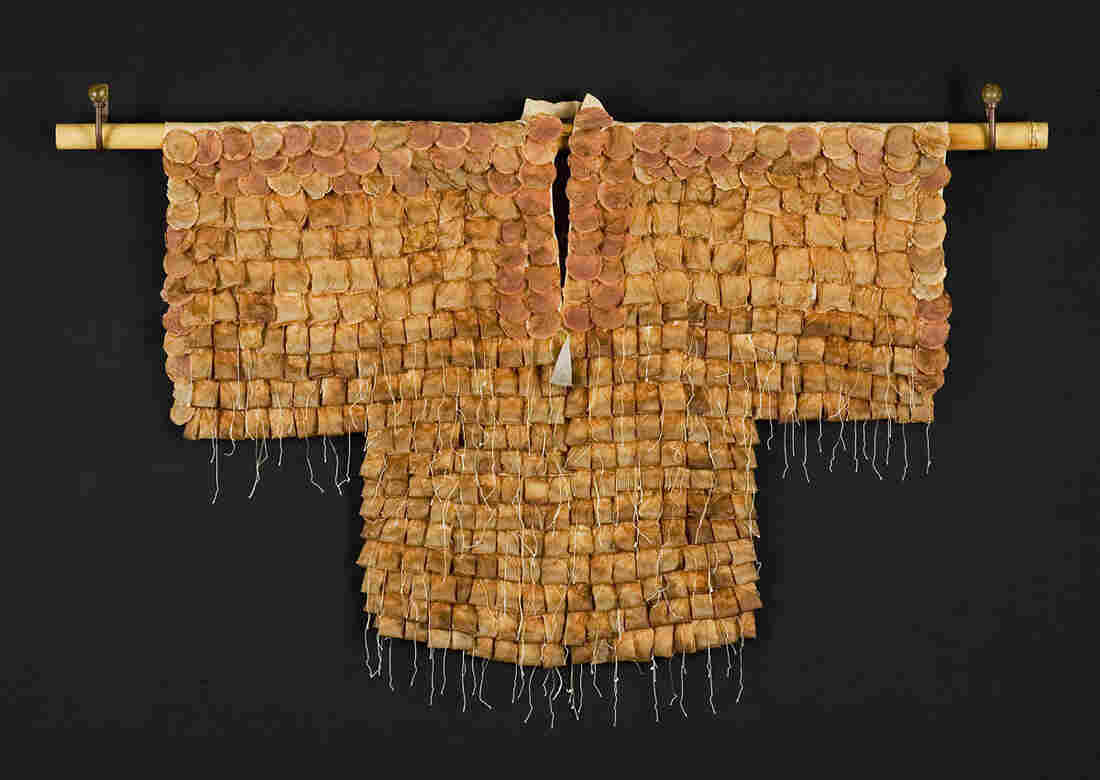 """Tea Ceremony, a kimono made of used tea bags by Wewer Keohane. Much like a complex Japanese tea ceremony itself, Keohane says making her kimonos """"is as much about the process as it is about the outcome."""""""