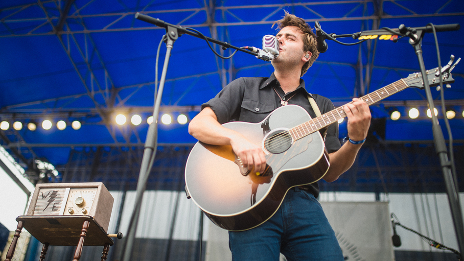 Lord Huron's Ben Schneider performs live at the Newport Folk Festival. (Adam Kissick for NPR)